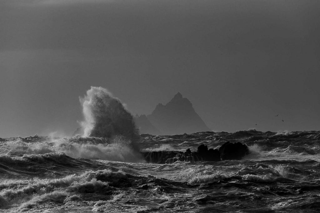 "Ian King, ""Skellig Michael across a stormy sea"""